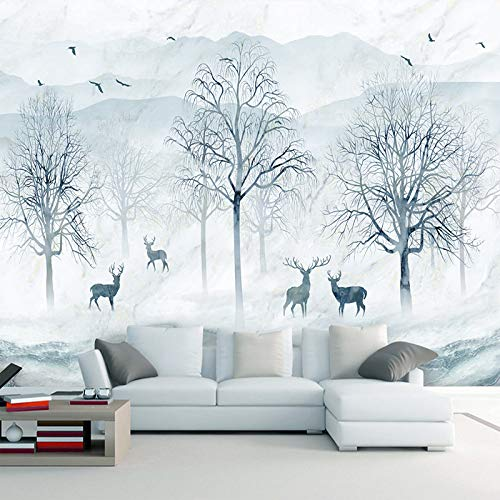 GMYANBZ Mural Wallpaper 3D Abstract Forest Elk Backdrop Wall Decoration Non-Woven Waterproof 8D Wall Paper Wall Covering ()
