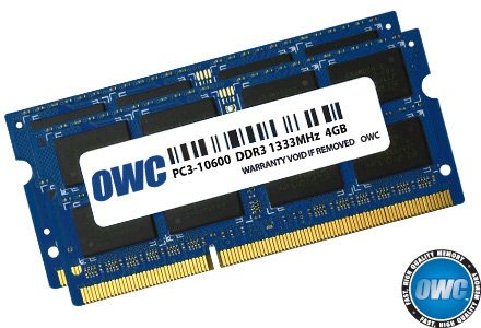 OWC 8.0GB (2x 4GB) P1333MHz 204-Pin DDR3 SO-DIMM PC3-10600 CL9 Memory Upgrade (Sodimm Memory Kit)