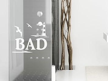 graz-design Fenstertattoo Schriftzug Bad mit Leuchturm/Möwen ...