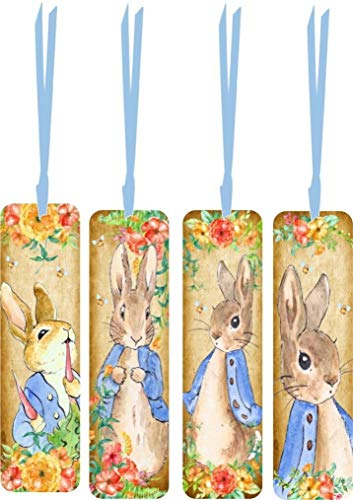 (4 Easter Peter Rabbit Bookmarks with Ribbon G4)