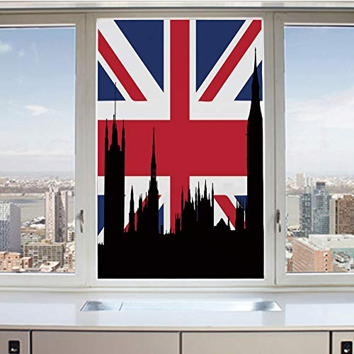 3D Decorative Privacy Window Films,Houses of The Parliament Silhouette on UK Flag Historic Urban Skyline,No-Glue Self Static Cling Glass Film for Home Bedroom Bathroom Kitchen Office 24x36 Inch