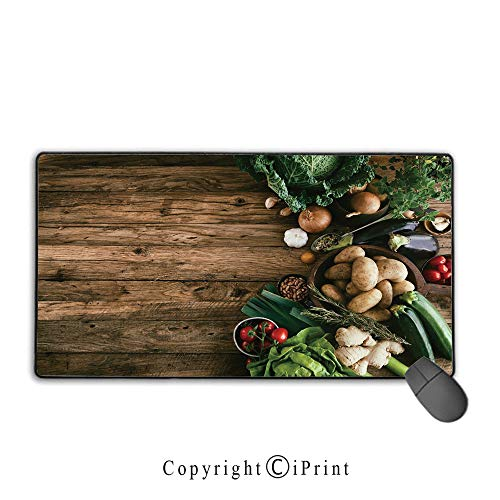 Extended Mousepad with Durable Stitched Edges,Harvest,Various Vegetables on Rustic Wooden Table Onions Potatoes Zucchini Cherry Tomatoes Decorative,Brown Green,Ideal for Desk Cover, Computer Keyboard, ()