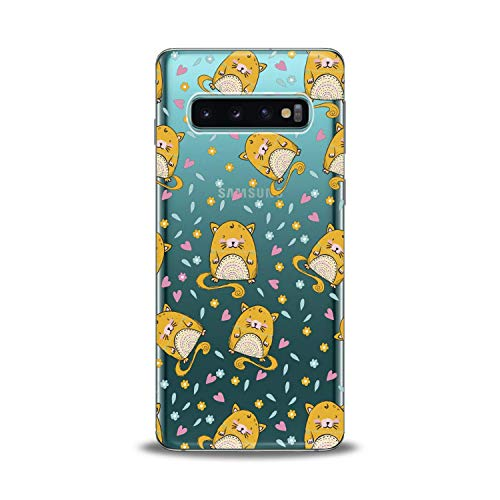 (Lex Altern TPU Case for Samsung Galaxy s10 5G Plus 10e Note 9 s9 s8 s7 2018 Clear Cute Hamster Yellow Cover Print Heart Colorful Protective Flower Design Flexible Girl Women Silicone Kid Adorable Gift)