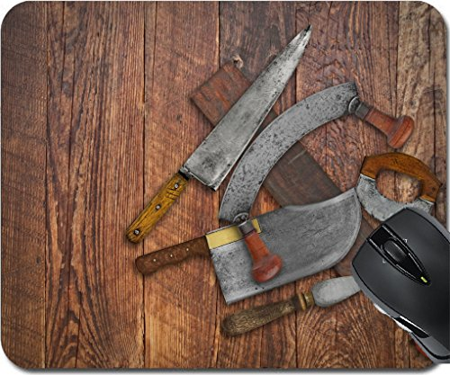 MSD Mousepad Mouse Pads/Mat design 30203137 vintage kitchen knives and sharpening tools collage over old wooden table space for your text