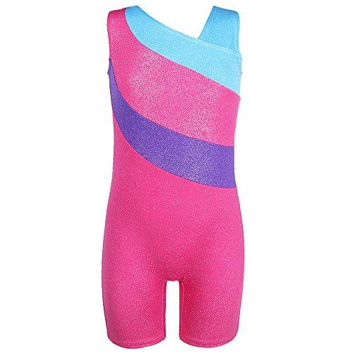 TFJH One-piece Sparkle Dancing Gymnastics Biketard for Little Girl LightBlue 110