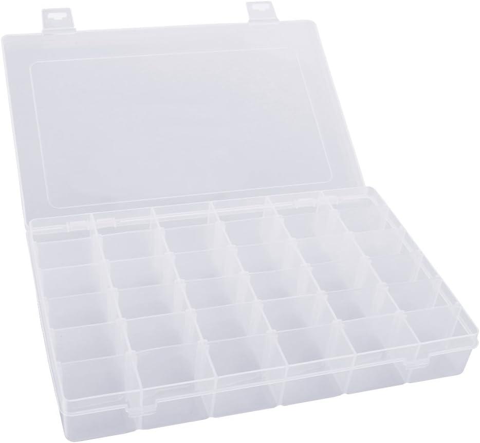 PIXNOR Portable 36-grid contenedor de almacenaje Caja de Organizador de joyas ajustable de plástico duro transparente funda extraíble con separadores: Amazon.es: Bricolaje y herramientas