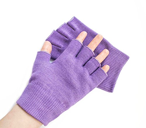 Hocee Moisturizing Gel Gloves Touch Screen Spa Moisture Skin Care Soft Cotton with Gel Repair Heal Eczema Cracked Dry Hand, Gel Lining Infused with Essential Oils and Vitamins, A Pair (Purple) by Hocee (Image #5)