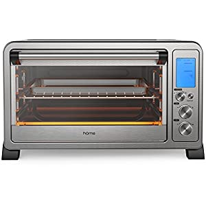 hOmeLabs Digital Countertop Convection Oven – 1500 Watts, Stainless Steel Exterior with Baking Pan Broil Rack Rotisserie Fork and Removable Crumb Tray – 6-Slice LCD Display Compact Toaster Oven