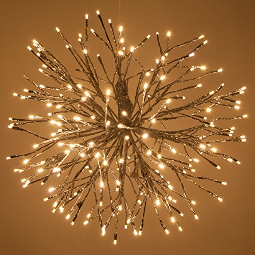 Silver LED Starburst 5mm Warm White Fairy Light Balls - Christmas Light Balls - Lighted Branches (24