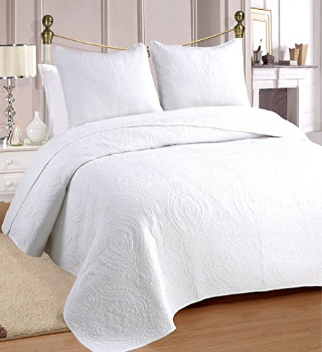 Price comparison product image Cozy Line Home Fashions 100% COTTON Solid White Medallion Bedding Quilt Set, Reversible Luxury Chic Bedspread Coverlet,For Bedroom/Guestroom (Medallion - White, King - 3 piece)