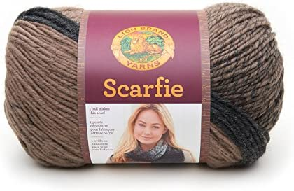 Taupe//Charcoal Lion Brand Yarn 826-200 Scarfie Yarn
