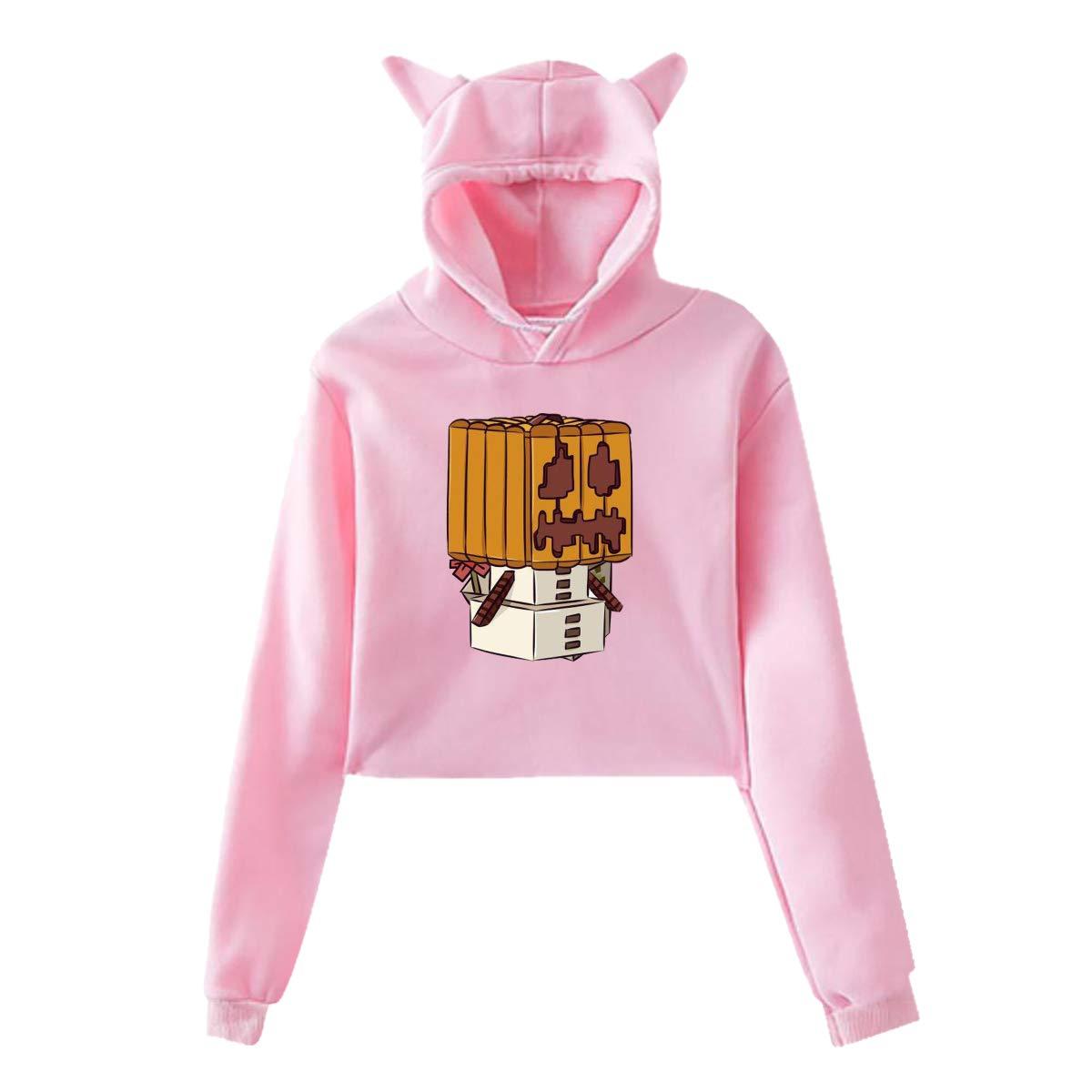 LianLiYa Women Midriff Sweatshirt Funny Snow Golem Cat Ear Pullover