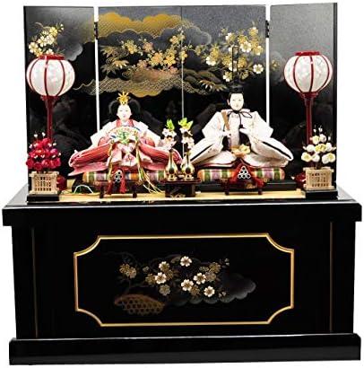 雛人形収納飾り 黒暈し「雲に桜」 【W65cm×D40cm×H66cm】