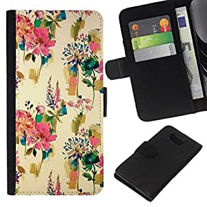 All Phone Most Case / Oferta Especial Cáscara Funda de cuero Monedero Cubierta de proteccion Caso / Wallet Case for Samsung ALPHA G850 // Flowers Wallpaper Vintage Paint