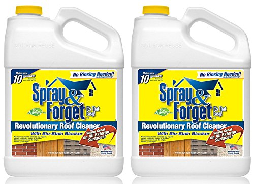 Spray & Forget Revolutionary Roof Cleaner Concentrate - 2 Gallons - Best Roof Cleaner - Mold remover, moss remover, mildew remover and algae remover - Planet Friendly - Plant Safe - Pet Safe - Residual Cleaning for up to 3 Years (Moss Remover Spray compare prices)