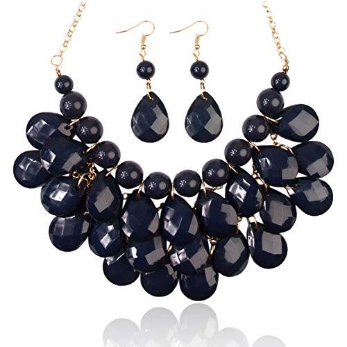 RIAH FASHION Chunky Acrylic Jewel Cluster Floating Bubble Statement Necklace - Teardrop Dangle Layered Bib Collar (Navy) -