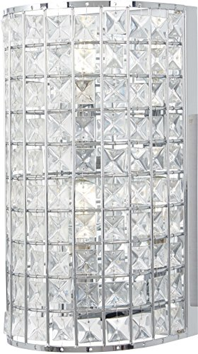 Bellacor Sconce Crystal (Minka Lavery Wall Sconce Lighting 2382-77 Palermo Wall Lamp Fixture, 2-Light 120 Watts, Chrome)