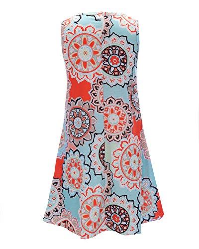 Silvous 4 Bohemian Dress Tunic Swing Pockets T Dress 3 Women's LightBlue Shirt Sleeves Midi Damask Floral qEpEr