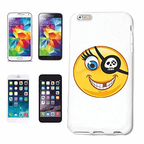 """cas de téléphone iPhone 6S """"SMILEY AVEC DENT GAP ET PATCH EYE """"SMILEYS SMILIES ANDROID IPHONE EMOTICONS IOS grin FACE EMOTICON APP"""" Hard Case Cover Téléphone Covers Smart Cover pour Apple iPhone en bl"""