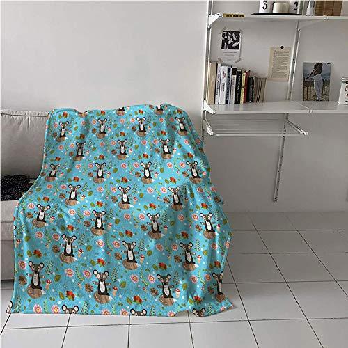 - Suchashome Raccoon Girl Blanket,Cute Character with Flower Blooms Berries Herbs Leaves Buds Pine Cones Forest Print,Print Artwork,Microfiber All Season Blanket 54