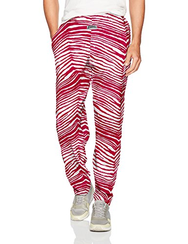 Zubaz Men's Standard Classic Zebra Printed Athletic Lounge Pants, Red/White, L -