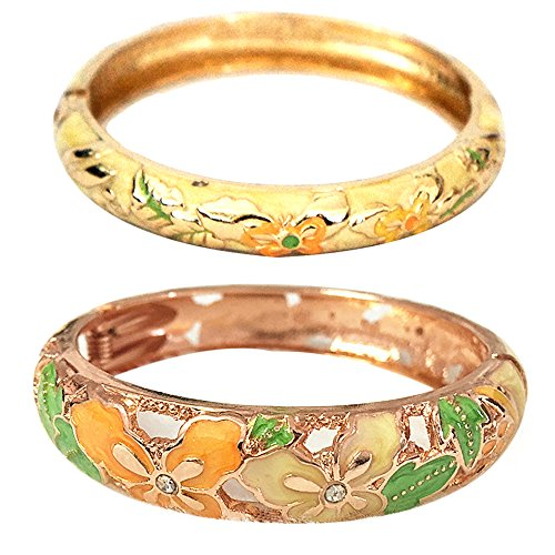 - UJOY Vintage Jewelry Cloisonne Handcrafted Butterfly Enameled Gorgeous Rhinestone Gold Hinged Cuff Bracelet Bangles Gifts 88A09 Yellow