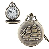 Quartz Antique Pocket Watch Hunter Case Big Dial Bronze Vintage Retro Fob Steampunk Ship With Chain Pendant For Men Women Mother's Day Gift for Mom Wife Daughter Mother-in-law