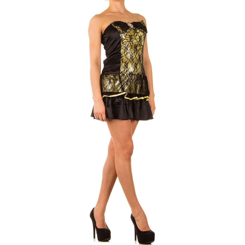 Damen Lolitta Kleid Cocktailkleid Bandeau Partykleid Spitzen Mini XS-M
