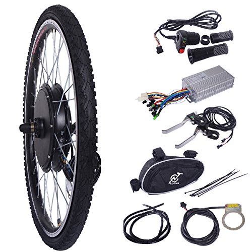 LAZYMOON 26 Front Wheel 48V 1000W Electric Powered Bicycle Motor Cycling Conversion Kit