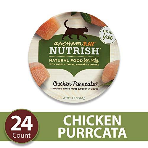 Rachael Ray Nutrish Grain Free Natural Wet Cat Food, Chicken Purrcata with Shredded White Meat Chicken in Sauce, 2.8 Ounce Cup (24 Count)