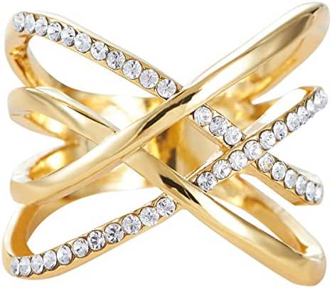 FAPPAC Gold Tone Crystals Criss Cross Entwine Statement Ring Enriched with Swarovski Crystals
