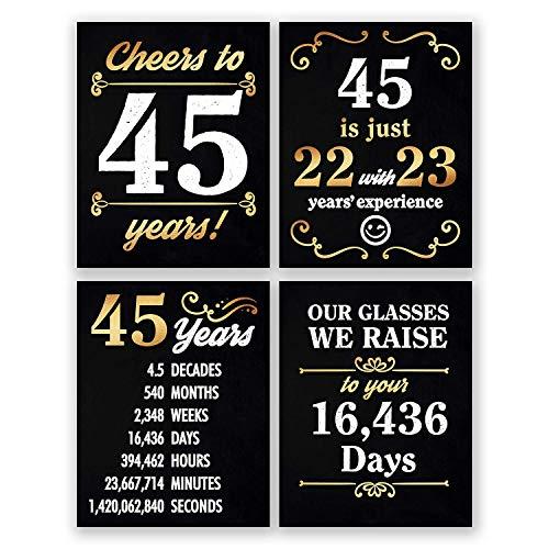 8x10 45th Birthday Decorations - Set of 4