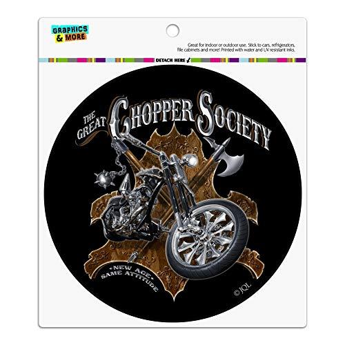 Graphics and More Great Chopper Society Axe Mace Biker Motorcycle Automotive Car Refrigerator Locker Vinyl Circle Magnet ()
