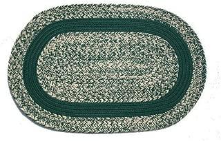 product image for Oval Braided Rug (2'x4'):Oatmeal Dark Green,- Dark Green Band