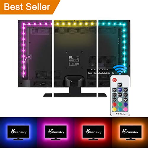 Vansky TV Backlight Kit Bias Lighting for TV,LED Strip Lights USB Powered LED Light Strip RF Remote 30-55 inch TV,Desktop PC - Reduce Eye Strain Increase Image - Backlight Computer Monitor