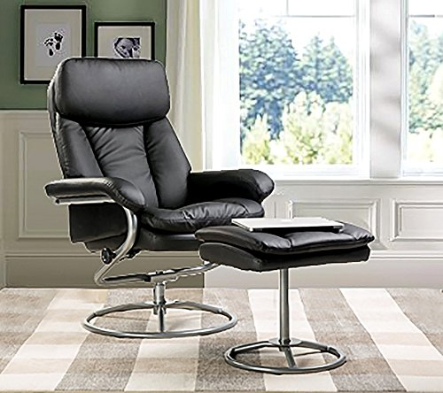 Merax Black Pu Leather Recliner and Ottoman with Metal Base by Merax