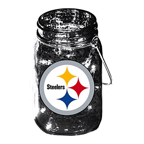 Team Sports America Pittsburgh Steelers Mason Jar LED Lantern with String Lights, Team Logos and Colors
