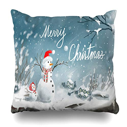 Ahawoso Throw Pillow Cover Realistic Blue Ball Snowman Standing Snow Storm Christmas Holidays Red Beachy Bottle Canvas Christ Home Decor Zippered Pillowcase Square Size 18 x 18 Inches Cushion Case - Robe Envelope Cotton Red