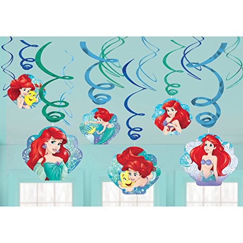 Disney Ariel The Little Mermaid Dream Big Swirl Value 12 Pack Party Supplies (Little Mermaid Decorations)