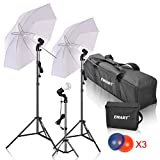 Photography Umbrella Light, Emart Photo Video Portrait Studio Continuous Lighting Kit, 15W LED Lamp and Color Gel Filters