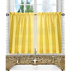 "Ellis Curtain Stacey Sheer Tailored Tier Pair Curtains, 56"" x 36"", Yellow"