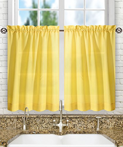 (Ellis Curtain Stacey Sheer Tailored Tier Pair Curtains, 56