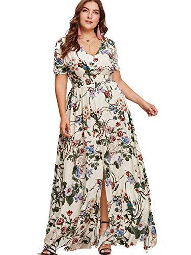 bf425a262d6 Milumia Women s Button up Split Floral Print Flowy Party Maxi Dress