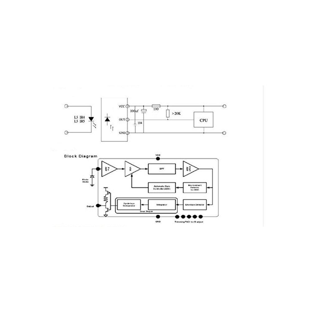 Yardwe Emetteur et r/écepteur infrarouges /à DEL /à diode infrarouge 5 paires