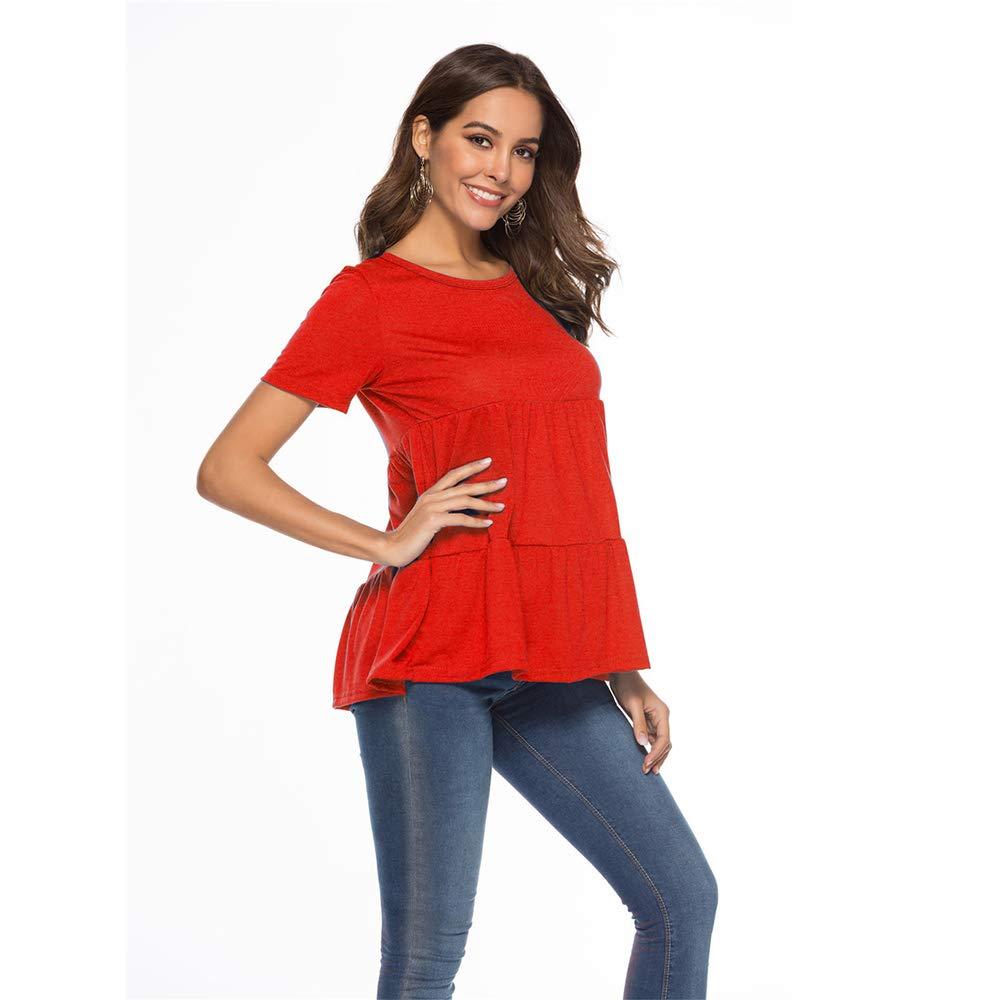 Red OEUVRE Women's Short Sleeve Contrast Black color Trim Plain Tshirts