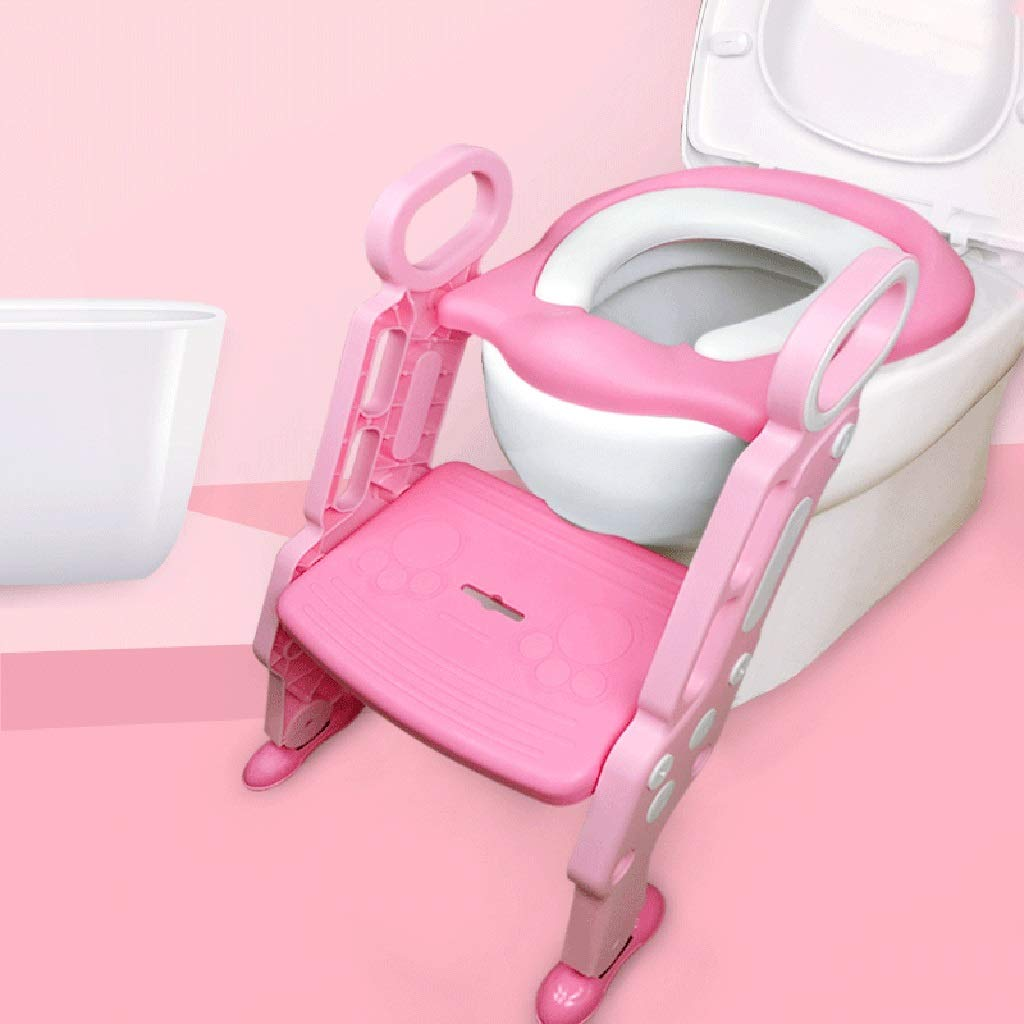 XWJC Children's Toilet Toilets Men and Women Baby Toilets Ladder Infants Large Seat Washers Children Urinal Stairs (Color : Pink)