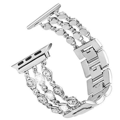 Tensea Jewelry Band Compatible with Apple Watch Band 40mm 38mm, Women Bling Diamond Bracelet with Removable Stainless Steel Metal Buckle Replacement for iWatch Apple Watch Band Series 4 3 2 1 (Silver)