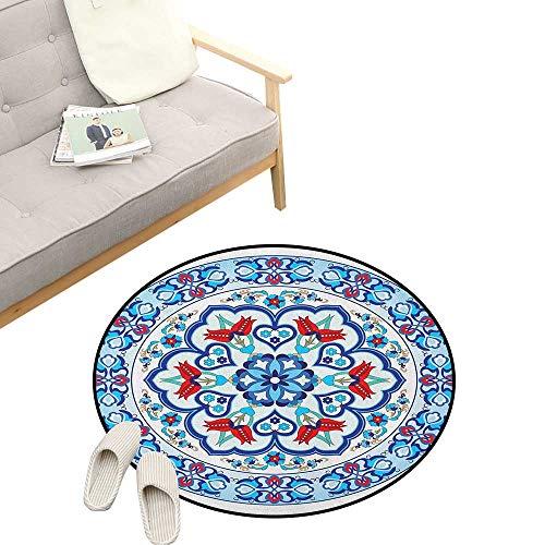 Antique Custom Round Carpet ,Ottoman Turkish Style Art with Tulip Period Ceramic Floral Elements European Print, Dorm Room Bedroom Home Decorative 31
