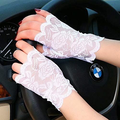 CHASIROMA Lace Gloves Summer Sun Block UV Protection Driving Gloves Outdoor Skidproof Lace Driving Evening Gloves for Ladies]()