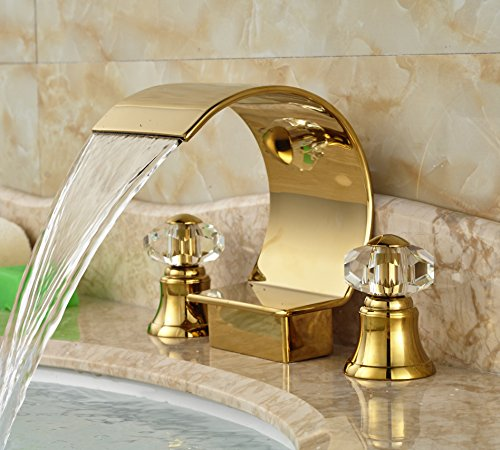 Rozin Arc Waterfall Spout Bathtub Faucet Crystal Knobs Mixer Tap Gold Finish